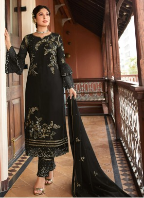 Embroidered Georgette Black Trendy Suit