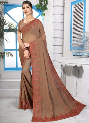 Embroidered Georgette Brown Classic Saree