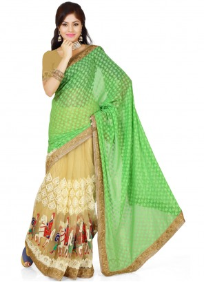 Embroidered Mint Green Georgette Casual Saree