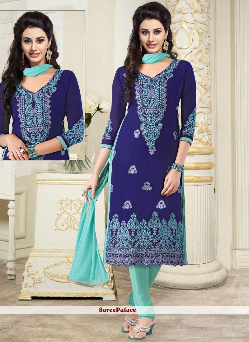 Embroidered Georgette Churidar Salwar Kameez in Blue