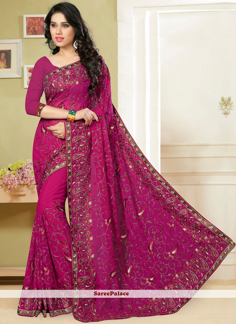 Rani Pink Embroidered Georgette Classic Saree