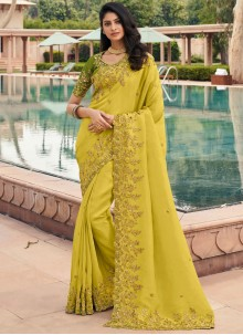Embroidered Georgette Classic Saree in Green