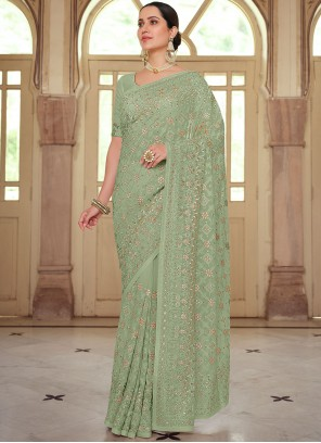 Embroidered Georgette Contemporary Saree in Green