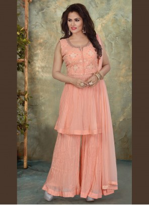 Embroidered Georgette Designer Pakistani Salwar Suit in Pink