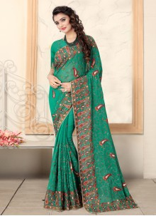 Embroidered Georgette Green Classic Saree