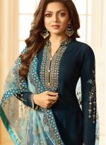 Embroidered Georgette Navy Blue Churidar Designer Suit