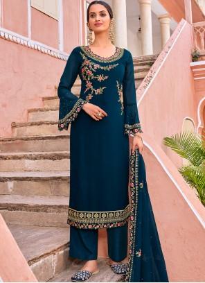 Embroidered Georgette Navy Blue Trendy Salwar Kameez