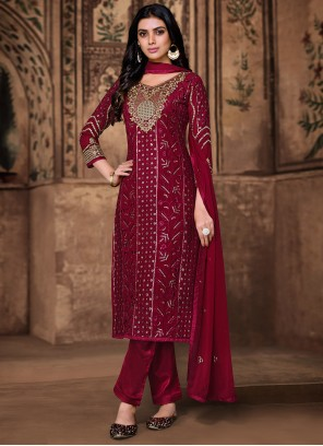Embroidered Georgette Pant Style Suit in Wine