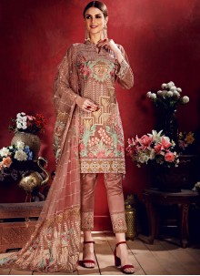 Embroidered Georgette Pink Salwar Suit