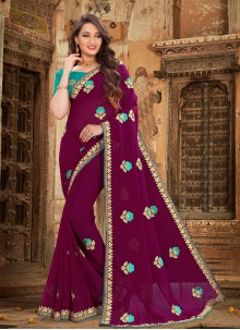 Embroidered Georgette Purple Bollywood Saree