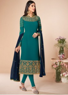 Embroidered Georgette Salwar Suit in Sea Green