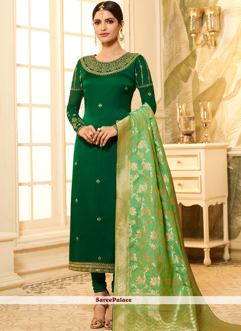 aa2e2b51625 Buy Green Embroidered Georgette Satin Churidar Designer Suit Online