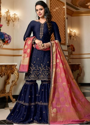 Blue Embroidered Georgette Satin Designer Pakistani Suit