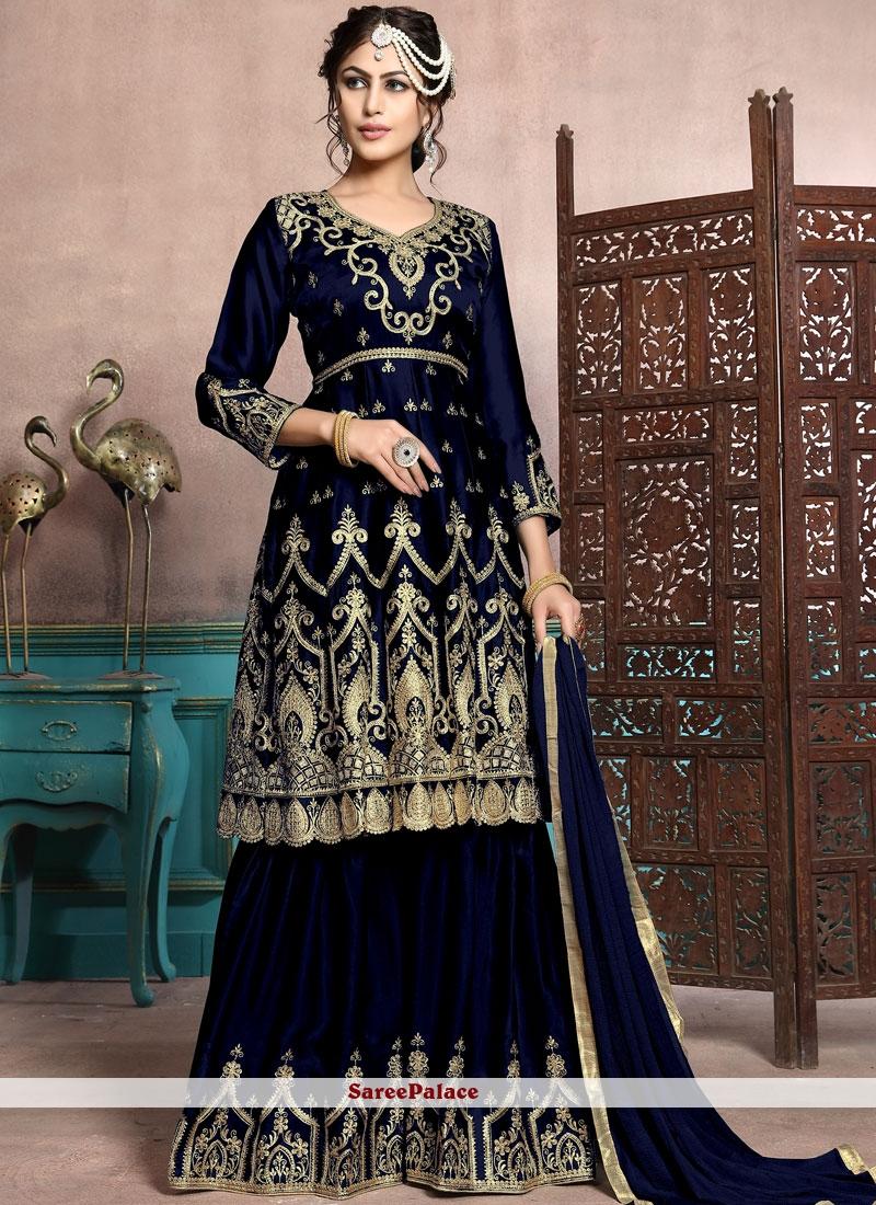 Embroidered Georgette Satin Designer Palazzo Salwar Suit in Black