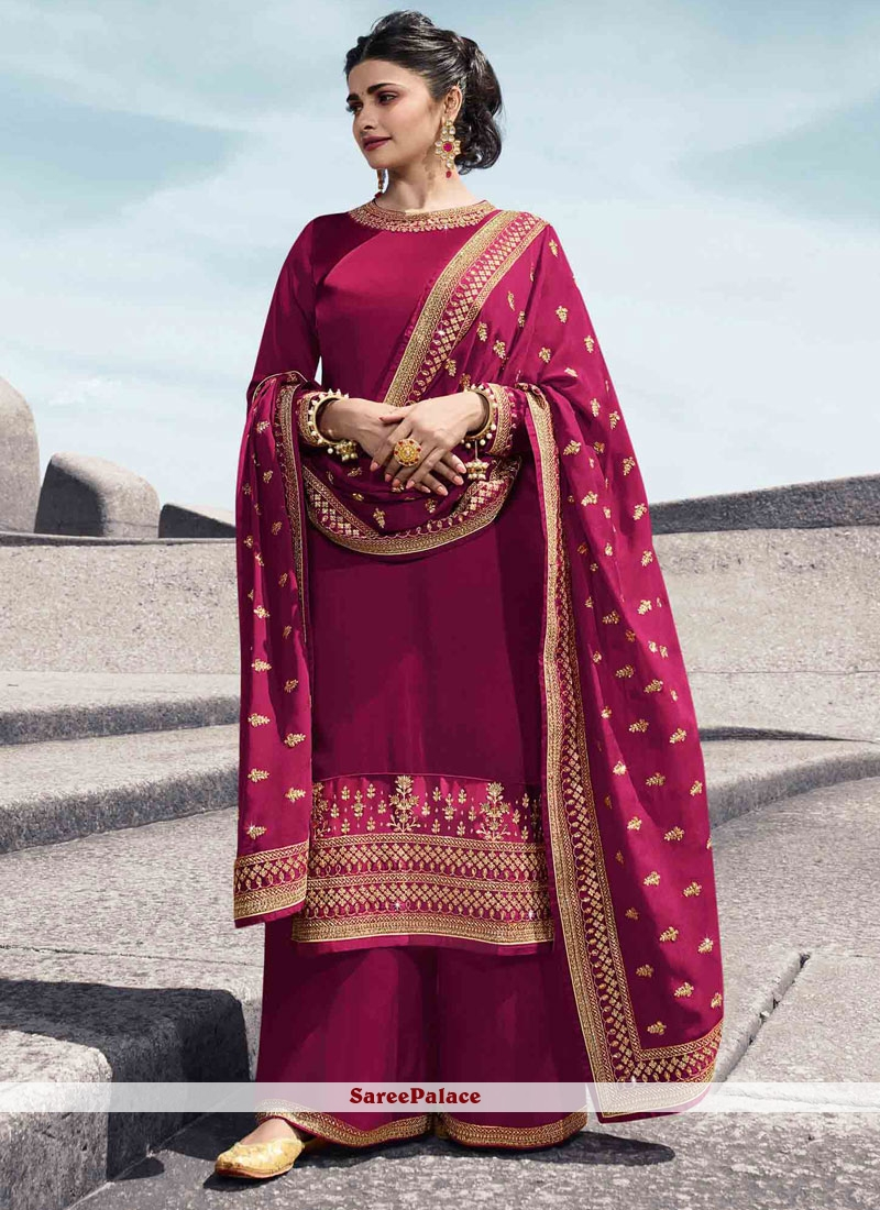 Embroidered Georgette Satin Designer Palazzo Suit in Pink