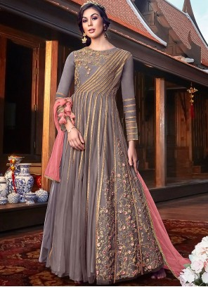Embroidered Georgette Satin Floor Length Anarkali Suit in Grey