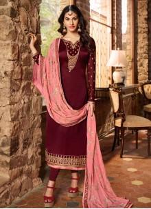 Embroidered Georgette Satin Maroon Trendy Churidar Salwar Suit