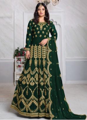 Embroidered Georgette Trendy Salwar Kameez in Sea Green
