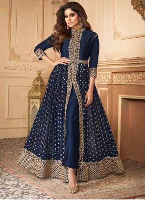 Blue Embroidered Georgette Trendy Salwar Suit