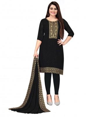 Black Embroidered Georgette Trendy Salwar Suit