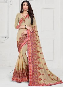 Embroidered Georgette Trendy Saree in Cream