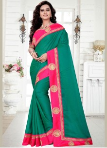 Embroidered Georgette Trendy Saree in Green