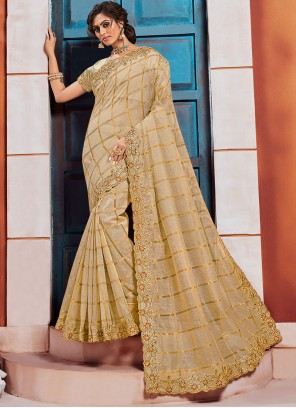 Embroidered Gold Silk Classic Saree