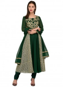 Embroidered Green Anarkali Salwar Suit