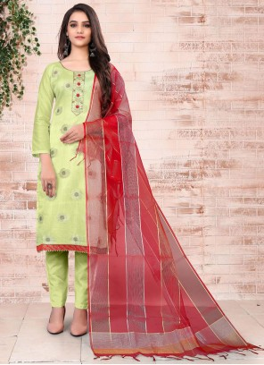 Embroidered Green Banarasi Jacquard Pant Style Suit