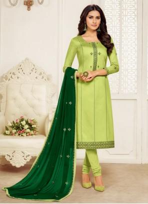 Embroidered Green Churidar Salwar Kameez