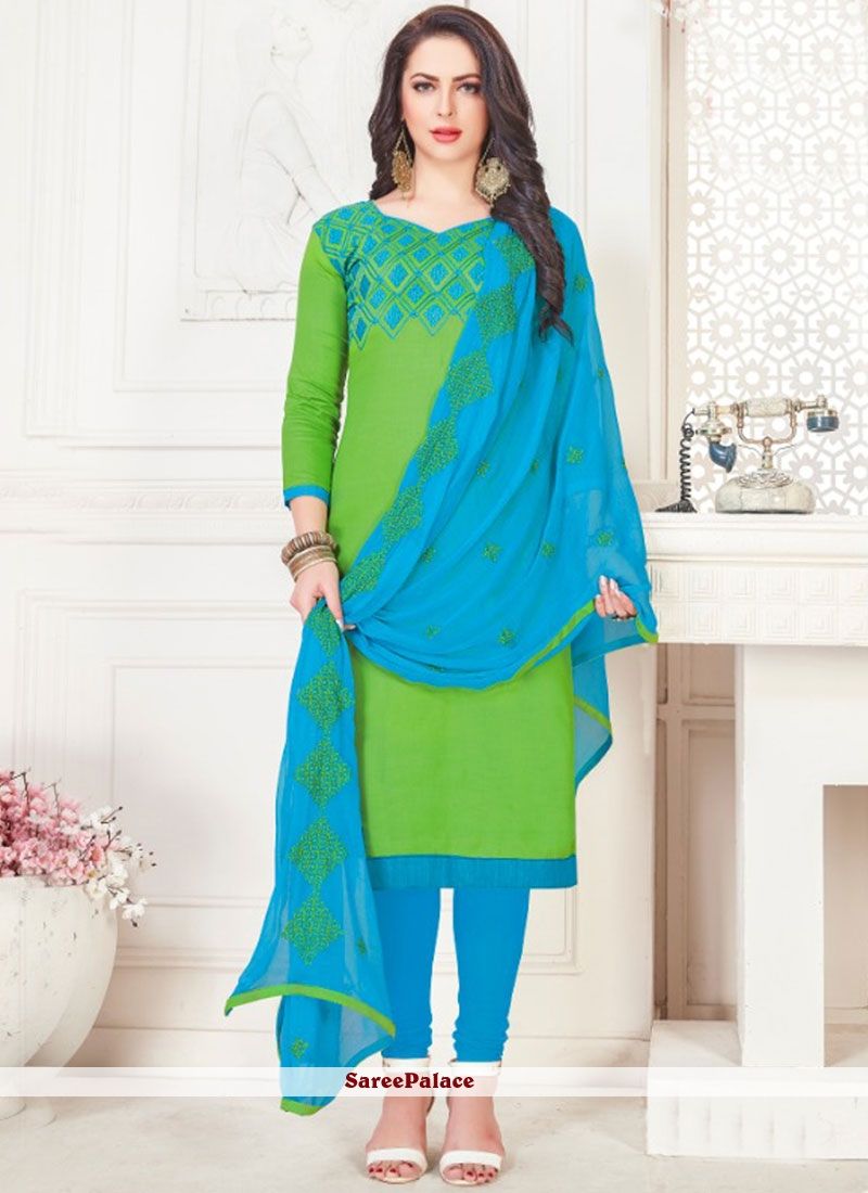Embroidered Green Churidar Suit