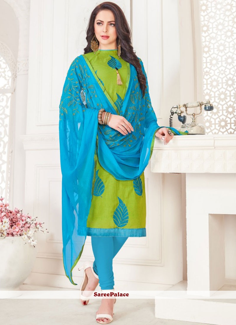 Embroidered Green Cotton   Churidar Suit