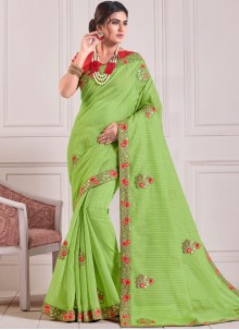 Embroidered Green Cotton Classic Saree