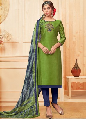 Embroidered Green Cotton Pant Style Suit