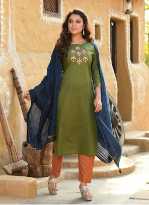 Embroidered Green Cotton Readymade Suit