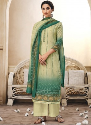 Embroidered Green Cotton Trendy Salwar Suit