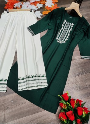 Embroidered Green Designer Kurti