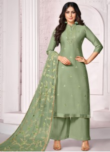 Embroidered Green Designer Palazzo Salwar Suit
