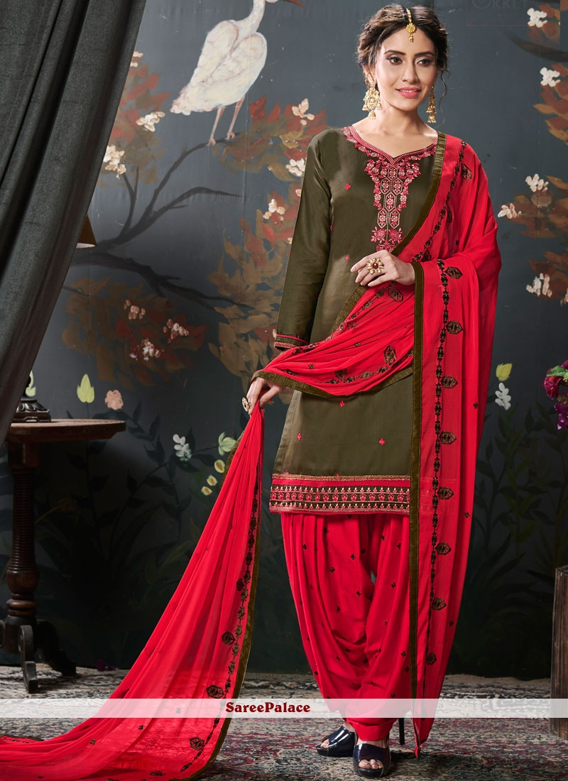 Embroidered Green Designer Patiala Suit