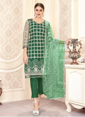 Embroidered Green Designer Salwar Suit