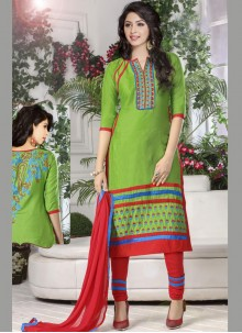 Embroidered Green Designer Straight Suit