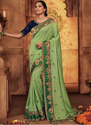 Embroidered Green Designer Traditional Saree