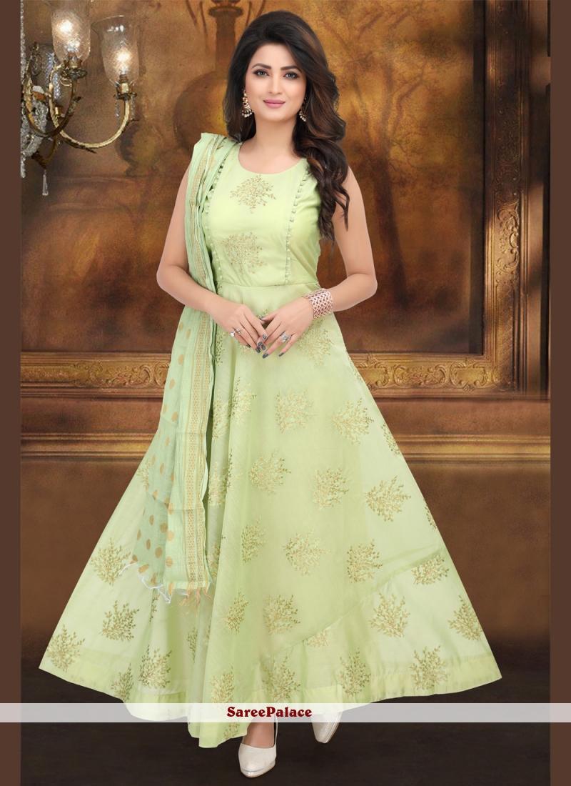 Embroidered Pista Green Desinger Anarkali Salwar Kameez