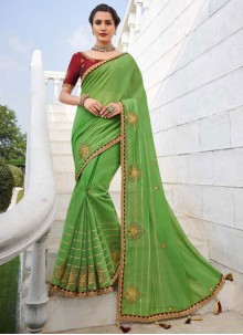 Embroidered Green Fancy Fabric Trendy Saree
