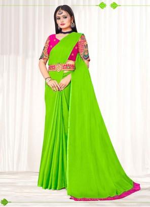 Embroidered Green Faux Chiffon Classic Designer Saree