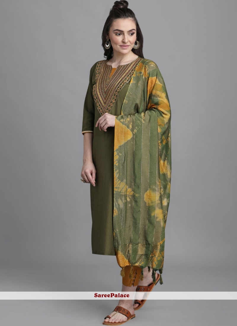 Embroidered Green Faux Chiffon Readymade Suit