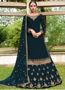 Embroidered Green Faux Georgette A Line Lehenga Choli