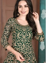 Embroidered Green Faux Georgette Designer Salwar Suit