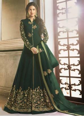 Embroidered Green Floor Length Anarkali Suit