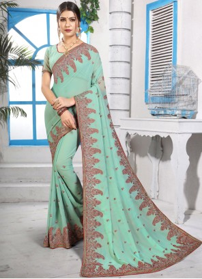 Embroidered Green Georgette Classic Saree